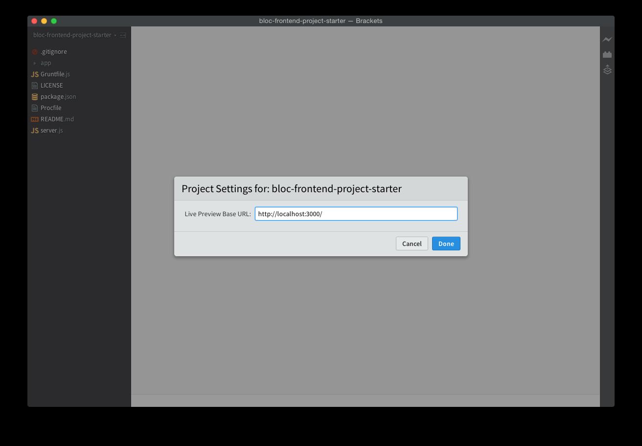 Screenshot of project settings URL in Brackets